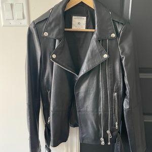 Zara Black Soft Biker Leather Jacket